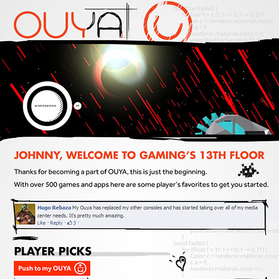 OUYA Drip Email Campaign and Newsletter