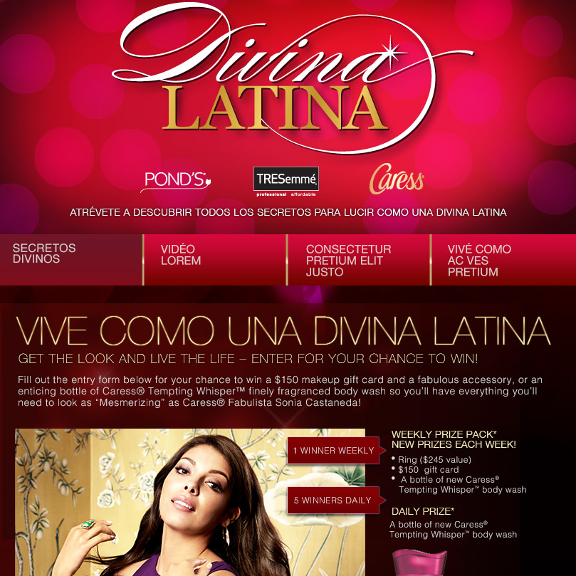 Caress Diva Latina Facebook App